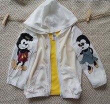 Детские мальчики девочки Микки напечатаны куртку детей гладкой круто солнце устойчивостью пальто дети шелковистые удобные куртки модная одежда