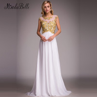 Modabelle Kant Top Goud Wit Prom Dresses Open Back Sexy 2018 Een Lijn Chiffon Lange Graduation Vestidos Para Gala