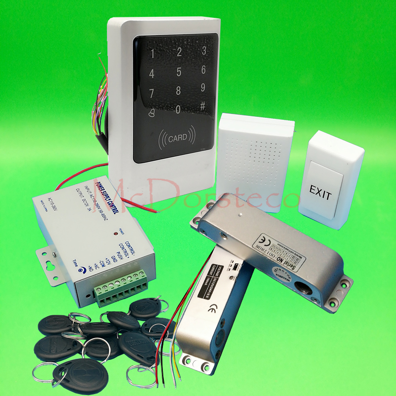 Metal IP68 Waterproof Full 125khz Rfid Door Lock control system Kit Surface Drop Bolt Lock Touch Keypad wood door Access Control metal rfid em card reader ip68 waterproof metal standalone door lock access control system with keypad 2000 card users capacity