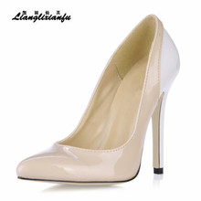 LLXF Fashion Color block OL work shoes woman Nightclub Stage performance 12cm Thin High-heeled Ladies Party zapatos mujer pumps