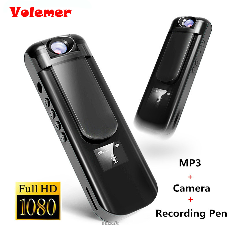 Volemer IDV009 Mini Camera 180 Rotation MP3 Player Camera HD 1080P Micro Camera 700mAh Video Voice Recording Pen Camera MP3 SQ8