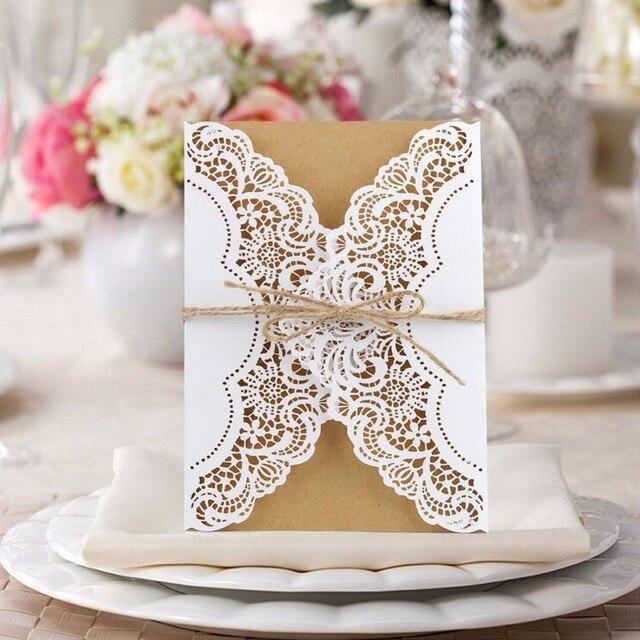 100 piezas unids invitaciones de boda Vintage hueco láser cortado