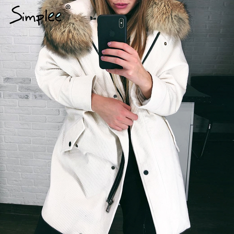 Simplee Faux fur splice hooded corduroy thick   parka   Winter warm soft padded coat Women 2018 lapel streetwear fashion overcoat