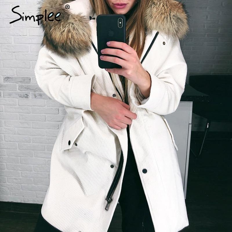 Simplee Faux fur splice hooded corduroy thick parka Winter warm soft padded coat Women 2018 lapel streetwear fashion overcoat