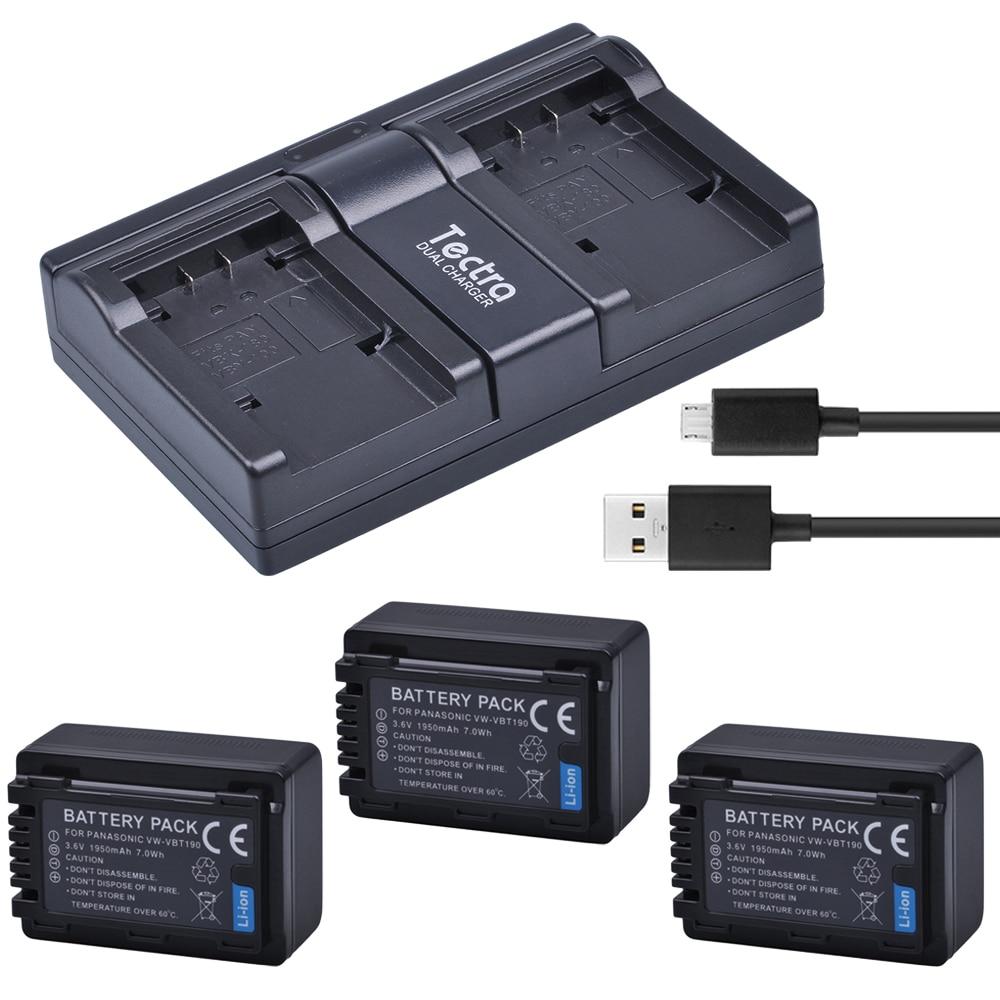 Tectra 3pcs Vw Vbt190 Vbt190 Li Ion Bateria Usb 2 Channel