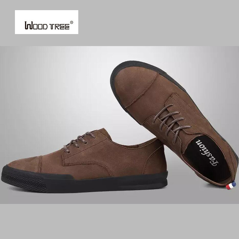 WOOD TREE Men Leather Casual shoes For Summer Spring Solid Lace Up Genuine Leather Shoes Normal Size Fashion Super Quality new authentic quality fashion casual men s shoes handmade genuine leather oxfords shoes for spring summer plus size 38 47