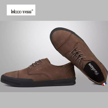 WOOD TREE  Men Leather Casual shoes For Summer Spring Solid Lace Up Genuine Leather Shoes Normal Size Fashion Super Quality