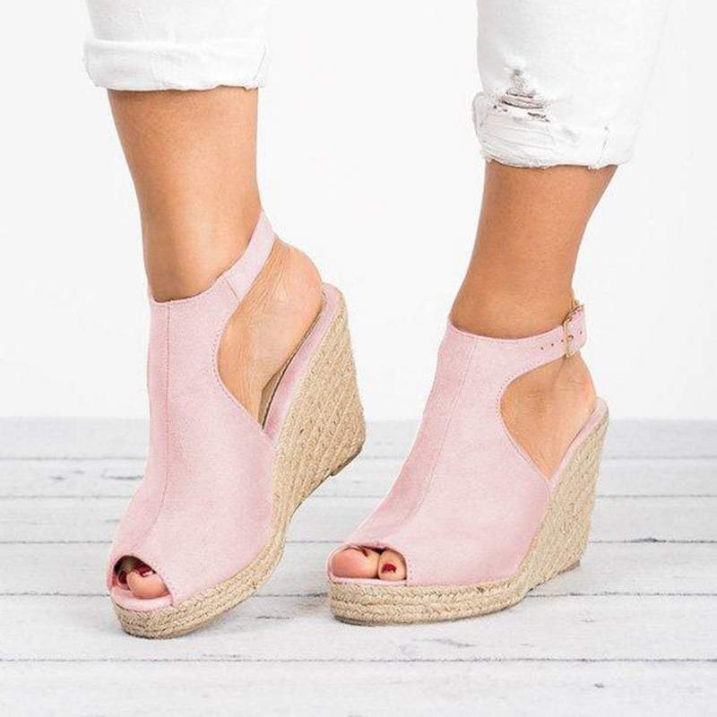 HEFLASHOR Open Toe Sandals Platform Heel Women Wedges Shoes Summer Woman Casual Shoes Wedding Pumps  Sandalias Mujer 2019