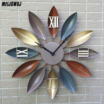 Meijswxj Large Wall Clock Leaf Style 3D Clock Modern Design Living Room Decor Iron Quartz Leaves Clock Colorful Home Decor