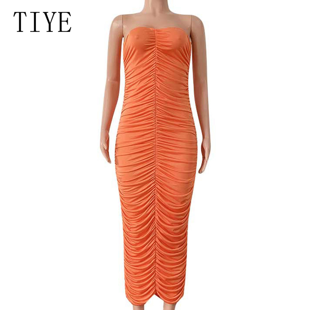 TIYE Brand Women Clothing Summer Sexy Off Shoulder Pleated Maxi Dress New Fashion Sleevless Bodycon Bandage Slim Pencil Dress in Dresses from Women 39 s Clothing