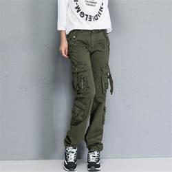 Для женщин брюки-карго Высокое качество модная разноцветная карманы хлопок брюки женские военные брюки-карго плюс Размеры A1137