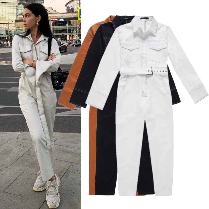 Streetwear Sashes Rompers Women Long Sleeve   Jumpsuit   Combinaison Femme Autumn White Black Ladies Casual Pockets Cargo Overalls