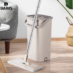 Smart Piatto Asciutto o Bagnato Mop Secchio Con Strizzatore per la Cucina di Casa di Pulizia del Pavimento Mop In Microfibra Con Auto Sistema di Pulizia secchio