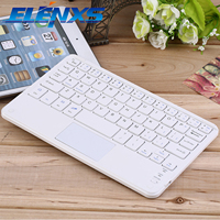 ELENXS Mini Portable Wireless Bluetooth 3 0 USB Keyboard White Keyboard With Touchpad For Smartphone Tablet