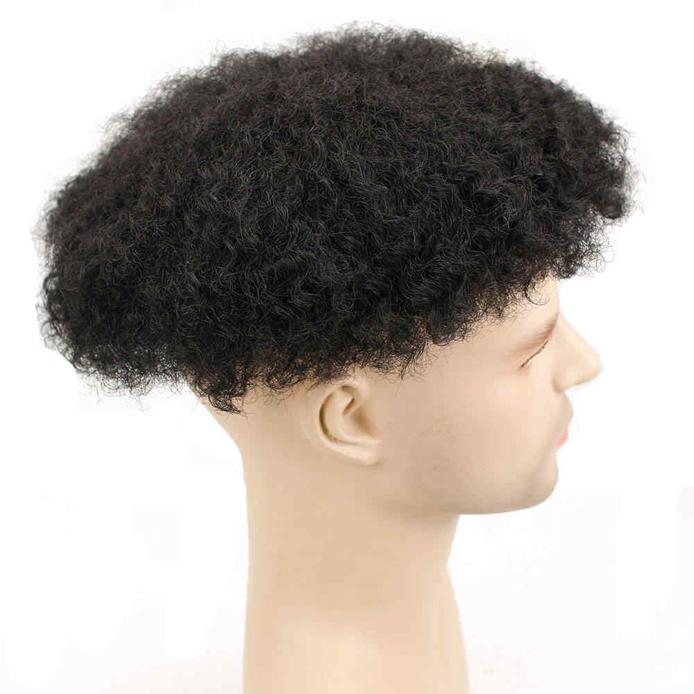 Eseewigs Afro Verworrene Lockige Brasilianische Remy Schwarz Menschliches Haar Perücken Für Männer Volle Hand Made Gebleichte und Winzigen Knoten Haar ersatz