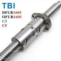 TBI C3 C5 ШВП DFU1605 OFU1605 высокое Точная шарико винтовая передача 1605 с анти люфт двойной орех пользовательские Длина 400 мм 500 мм