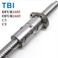 TBI C3 C5 Ball screw DFU1605 OFU1605 High Precision Ballscrew 1605 with Anti Backlash Double nut Custom Length 400mm 500mm