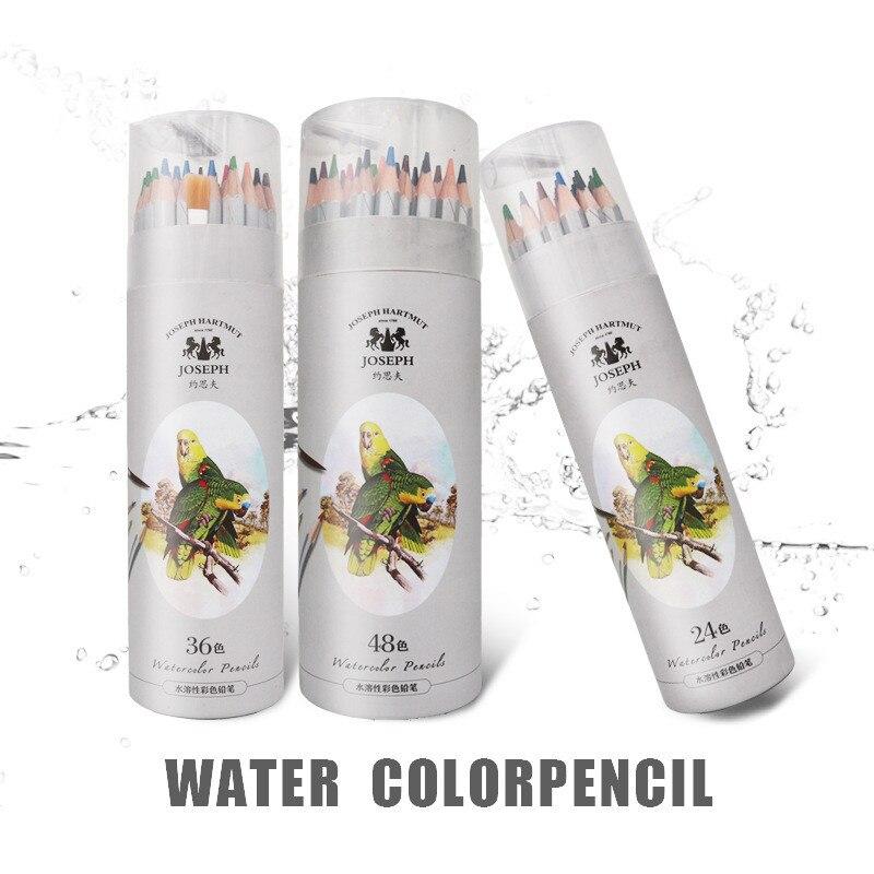 Lápis de cor solúvel em água profissional 24 36 48, lápis em aquarela para arte, material escolar