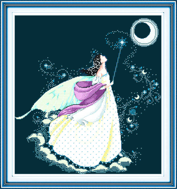 Beauty moon fairy cross stitch kits 14ct 11ct black deep blue flaxen canvas cotton thread beads embroidery DIY needlework craft