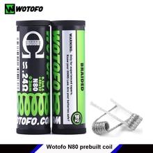 Conjunto pré construído original do tubo do fio de aquecimento das bobinas de wotofo n80 fundiu clapton duplo/quad/tri núcleo juggernaut enquadrado grampo 10 pces/tubo