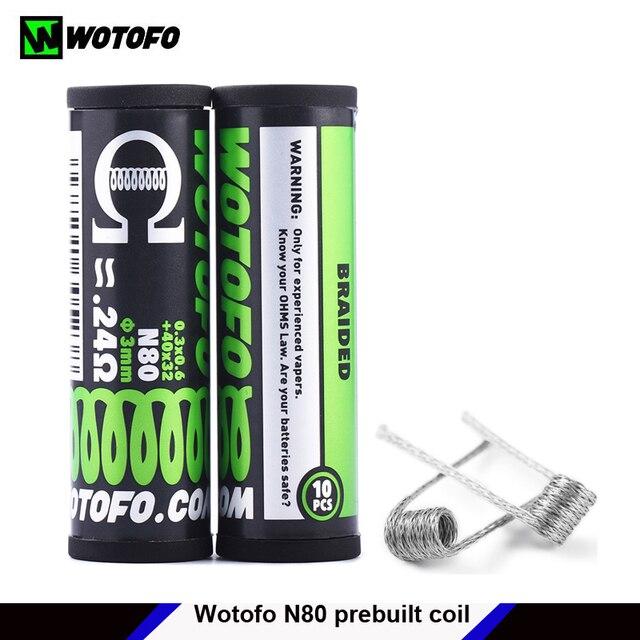 מקורי wotofo N80 מוכנים מראש סלילי חימום חוט צינור סט התמזגו קלפטון Dual/Quad/Tri Core Juggernaut ממוסגר מצרך 10 pcs/צינור