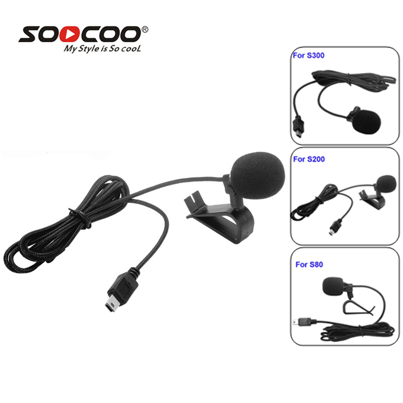 SooCoo Accessories External MIC Expanded Microphone for S300 S200 4K WIFI Sport Action Cameras w/Holder Clip for S80 ActionCam