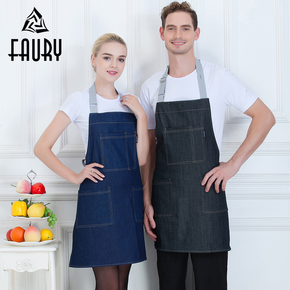 3 Colors Halter Neck Patchwork Pocket Adjustable Strappy Aprons Kitchen Cooking Chef Work Uniform Restaurant Bakery Waiter Apron