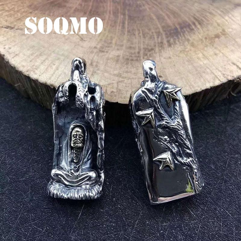 SOQMO 2019 Fashion Vintage Pendant 100% 925 Sterling Silver Jewelry Men Women Punk Creative Demon Seal Necklace Pendant making