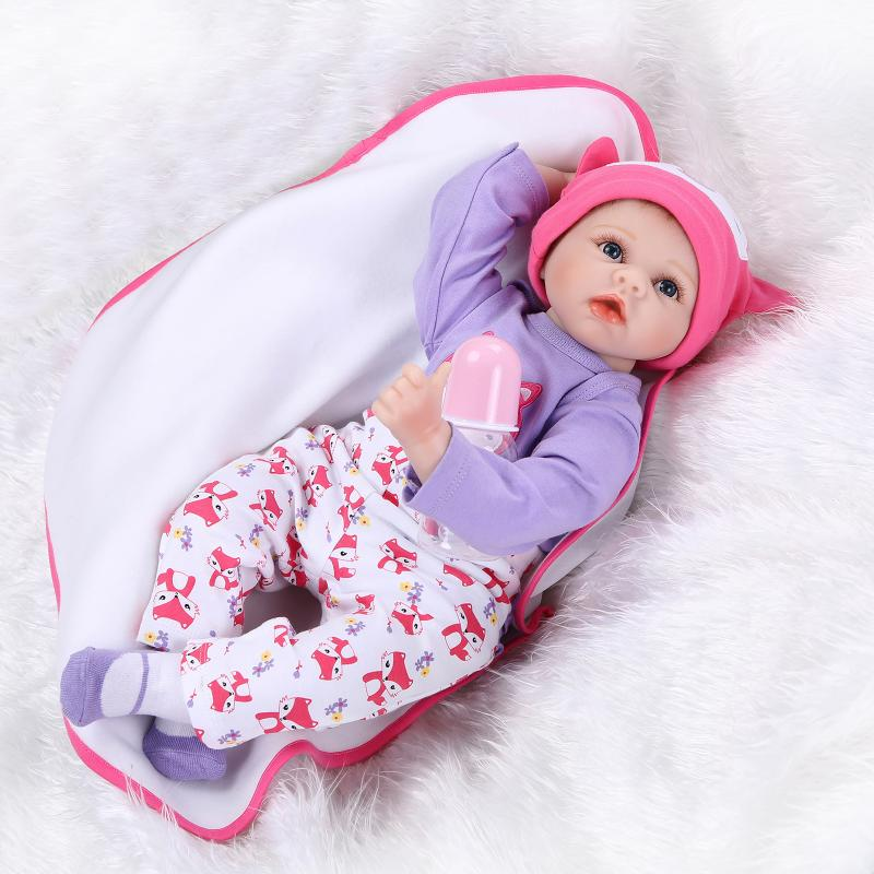 2016 New 22 Inches 55cm Silicone Doll Reborn Baby Kawaii Kids Toys Girls Boneca Blue Eyes Brown Hair Kids Gift Dolls Brinquedos 22 inches sweet girl dolls brown hair 55cm doll reborn baby lovely toys cute birthday gift for girls as american girl