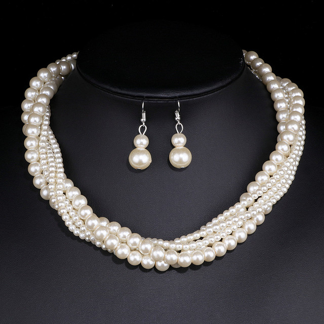 2018 Charm Elegant Wedding Jewelry Sets Imitation Pearl Necklace