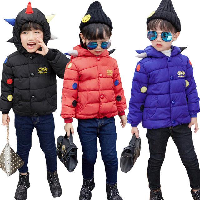 Niñas Bebés niños Winetr Chaquetas y Abrigos de Moda de Nueva Llegada de Dinosaurio de la Historieta Con Capucha de la Cremallera Grueso Niños Outwear Caliente Para 2-6Years
