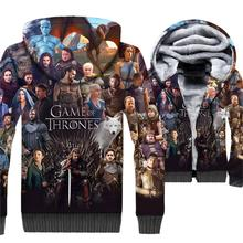 Game of Thrones Jacket 3D Print Hoodie Men House Stark Hooded Sweatshirt 2018 Winter Thick Fleece Warm Zip up Coat Plus Size 5XL недорого