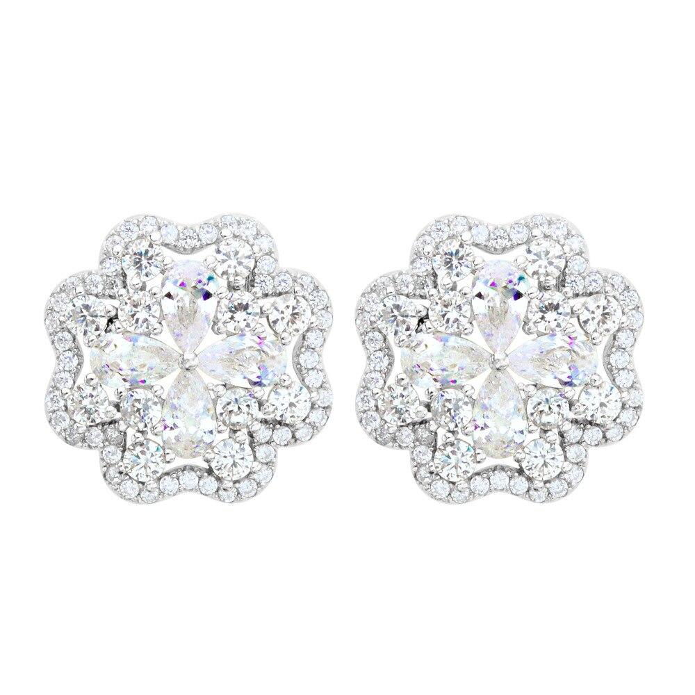 Bella Genuine 925 Sterling Silver Bridal Earrings Flower Shape Cubic Zircon  Stud Earrings Wedding Accessories Party Jewelry