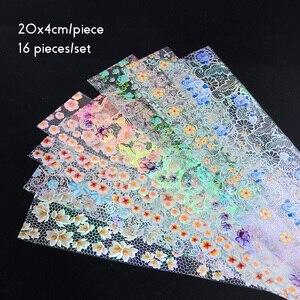 Image 2 - 16 stücke Nagel Folie Set mit Transfer Kleber Weiß Spitze Holographische Blumen Aufkleber Nail art UV Gel Voll Wraps Decor maniküre LA931 1