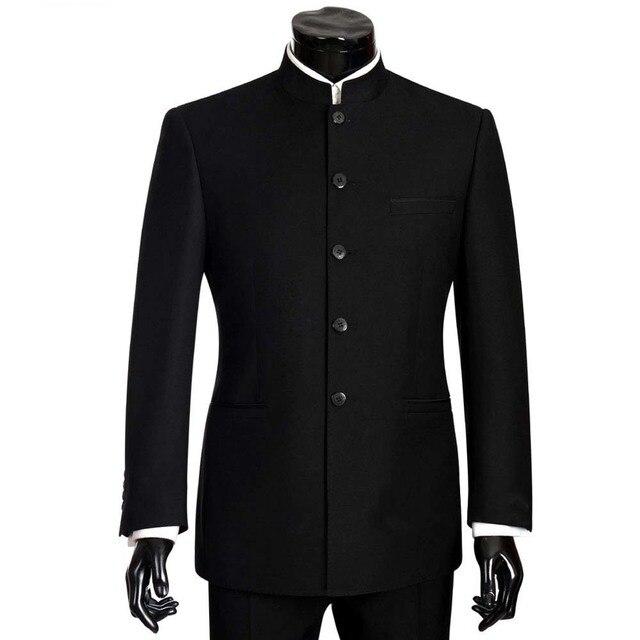 2018 ブランドの男性はビッグサイズ中国のマンダリンカラー男性スーツスリムフィットブレザー結婚式 Terno タキシード 2 枚のジャケット & パンツ