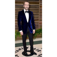 Dark Blue Velour Slim Fit Men Suit Set Groom Tuxedos Velvet Coat Prom Wedding Performance Suits Costume Homme(Jacket+Pants)