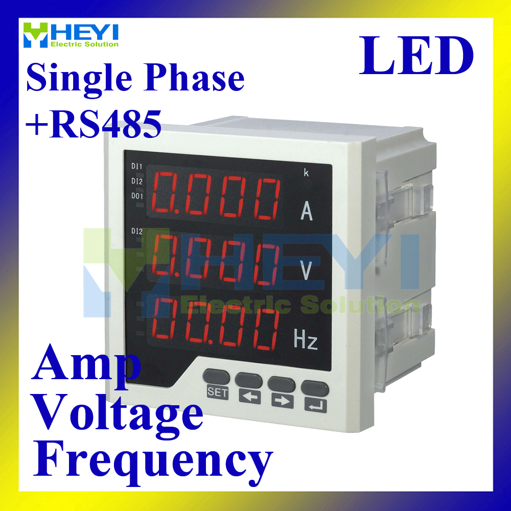 ФОТО LED Single phase ampere voltage frequency combined meter 96*96 mm Class 0.5 digital counting meter with RS485