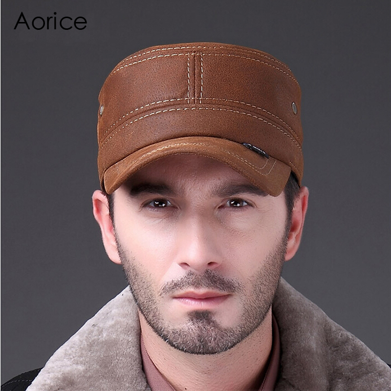 Aorice Men Genuine Leather Cowskin Cap Solid Color Brand New Russian Winter Warm Army With Ears Leisure Fashion Caps HL019 aorice genuine leather baseball cap men hats and caps solid color brown black leather leisure fashion travel biker hl187
