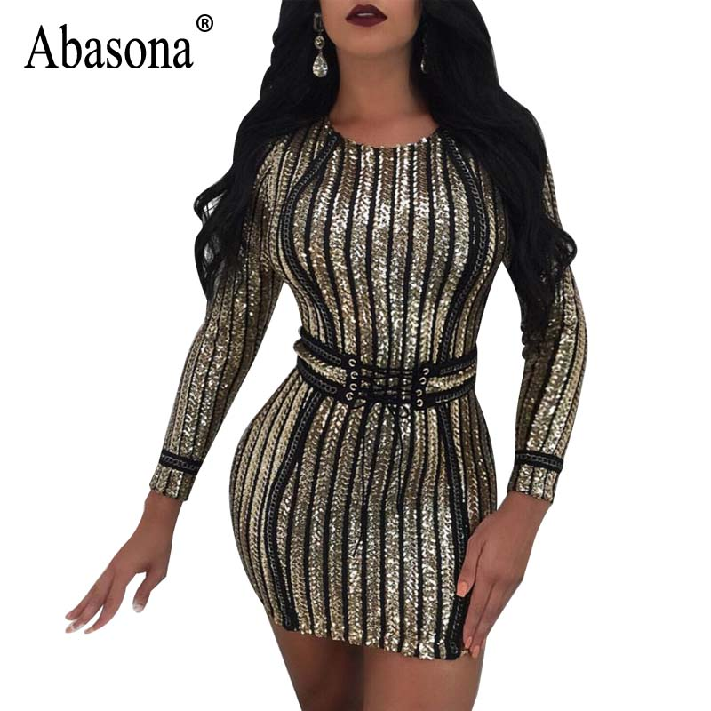 e032e3d8 Abasona Women Striped Dress Black Gold Silver Sequin Dress Long Sleeve  Evening Party Club Lace Up Sashes Bodycon Mini Dress