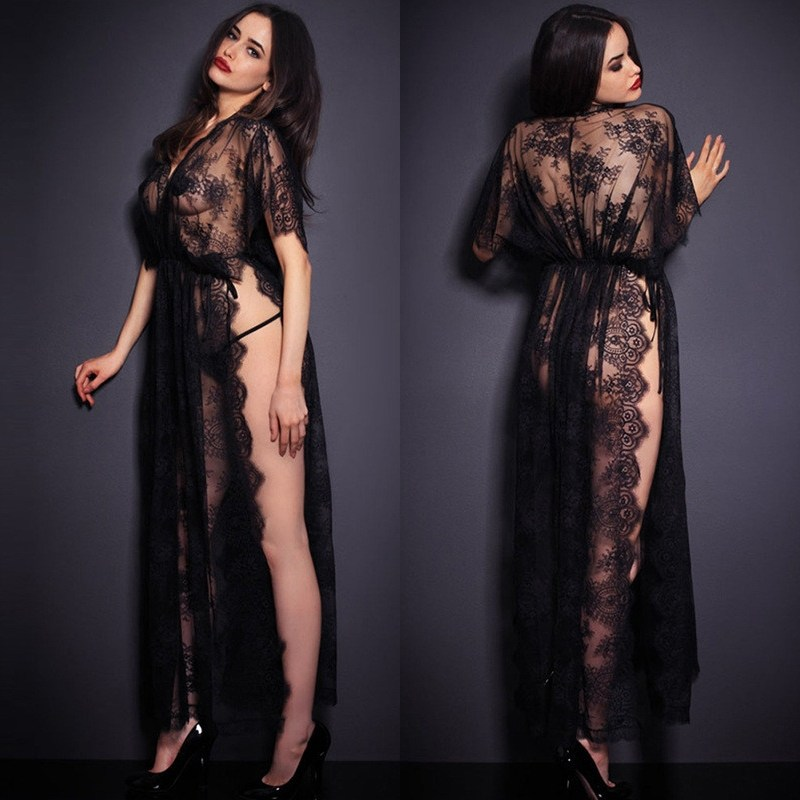 2018 Sexy Sleepwear Women Nightgowns & Sleepshirts Short Sleeve O Neck Nightgowns Solid Full Lace Transparnet Hollow Out Dress
