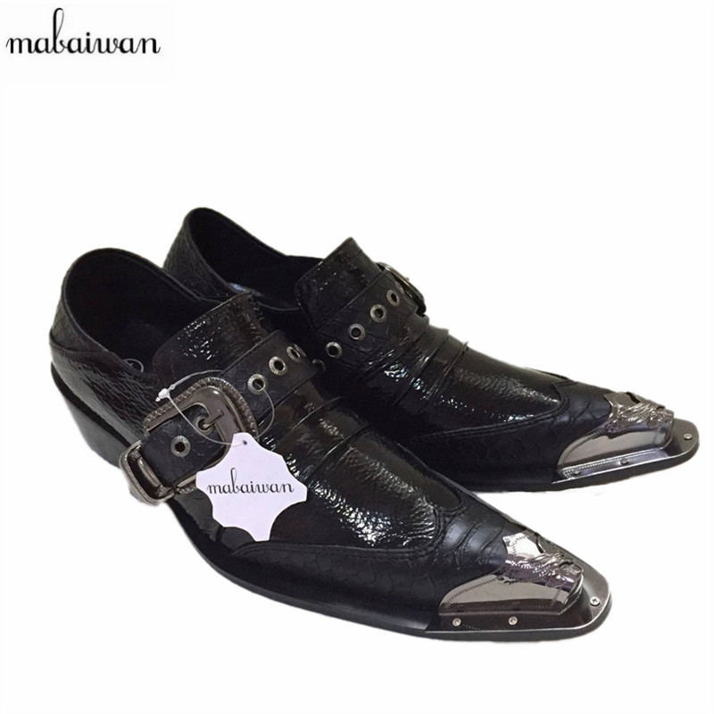 Fashion Black Creepers Chaussure Homme Buckle Leather Shoes Iron Pointed Toe Wedding Dress font b Oxfords