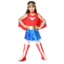 Halloween Costume Kid Wonderful Woman (Headdress+Dress+Gloves+Cloak+Feet) Cute Super Hero Performance Dress Sets Cartoon Cosplay
