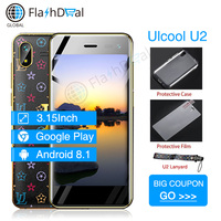 Smallest 4G Ulcool Smart phone U2 MTK6739 1GB 8GB 3.15Inch Mini celular Android 8.1 Google Play store leather small mobile phone