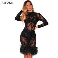 ZJFZML Feather Lentejuelas Adornado Vestido de Fiesta Noche de Las Mujeres Ahueca Hacia Fuera el Vestido de Malla de Manga Larga Negro Bodycon Túnica Sexy