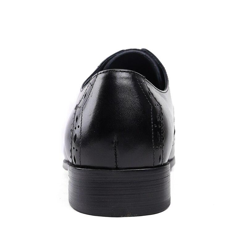 Männer der Derby Schuhe Aus Echtem Leder Rindsleder Leder Schwein Inneren Runde Kappe Brogue Stil Kleid Hochzeit Business Schuhe 2019 Neue spitze up - 4