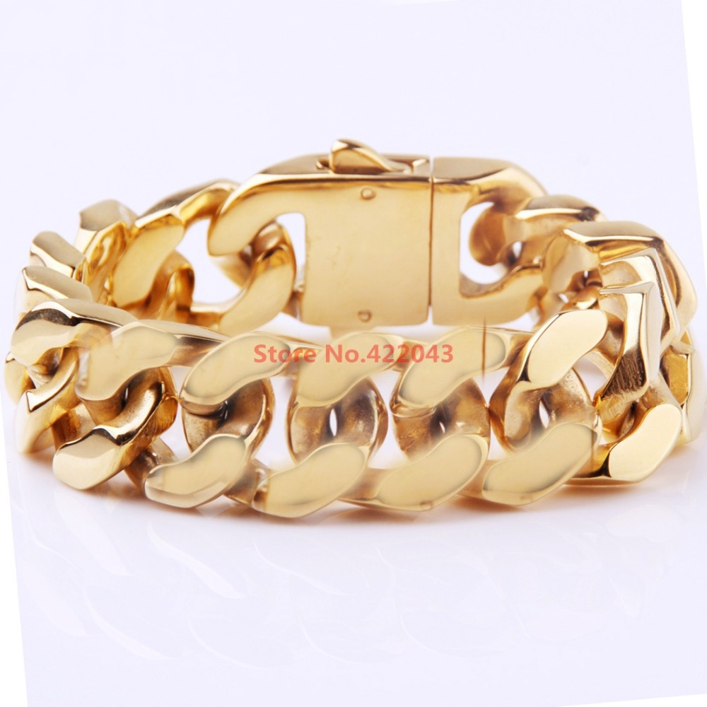 Factory Price!! 8.5 20mm Heavy Gold  color Cool Men's Huge Bangle Jewelry 316L Stainless Steel Curb Cuban Chain Bracelets Gift