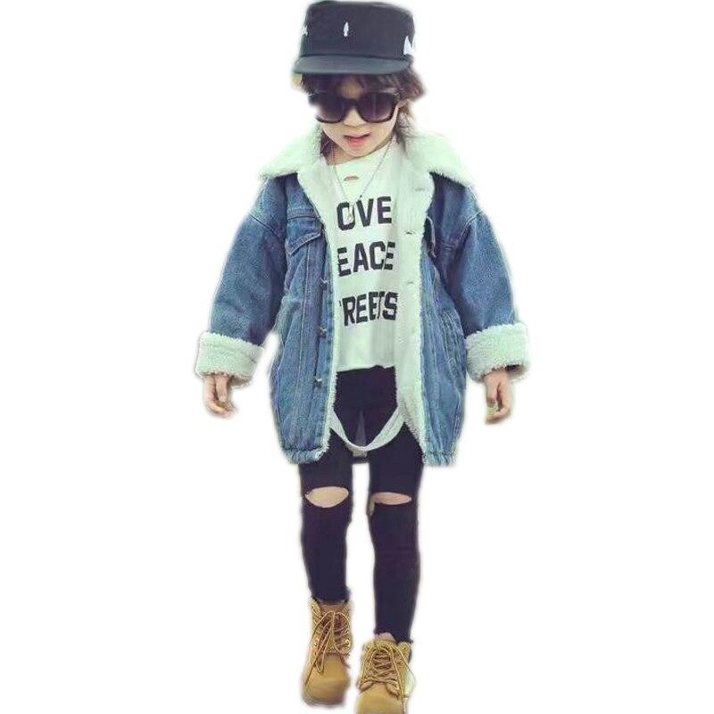 boy girl winter coat 2018 new winter children warm jacket solid turn down collar kids denim coats Plus cashmere children outwear solid pocket decoration denim jacket