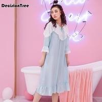 2019 new plus women's cotton nightgowns nightwear european vintage palace style loose sleepwear sleep shirts