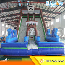 Inflatable Biggors Inflatable n slip and slide Inflatable Dry Double Lane Slide For Sale