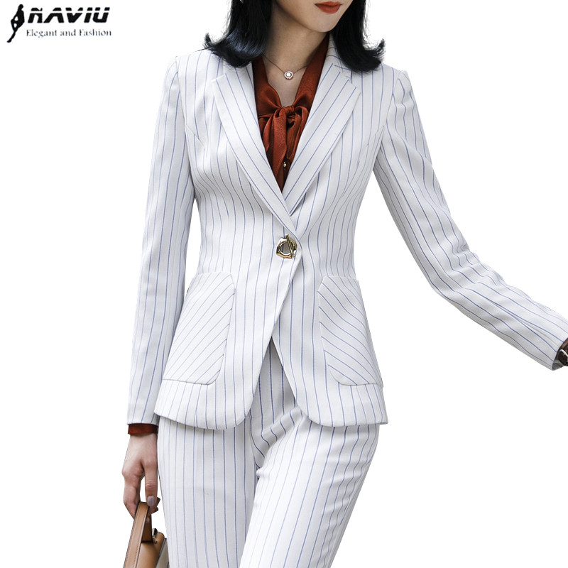 2018 New Fashion Stripes pants suits women business Interview long sleeve blazer and trousers office ladies